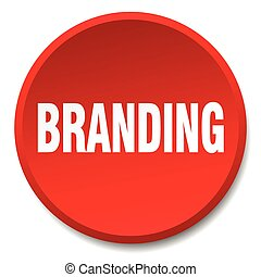 branding red round flat isolated push button