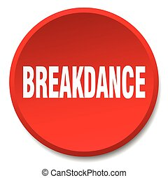 breakdance red round flat isolated push button