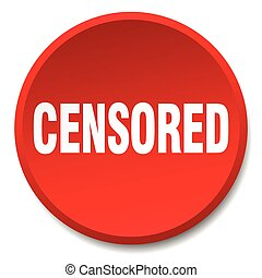 censored red round flat isolated push button