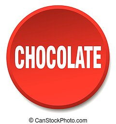 chocolate red round flat isolated push button