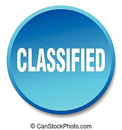 classified blue round flat isolated push button