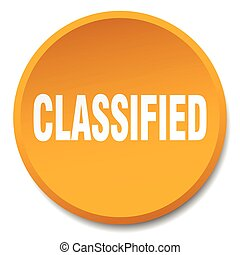 classified orange round flat isolated push button