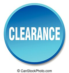 clearance blue round flat isolated push button