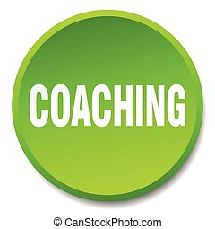 coaching green round flat isolated push button