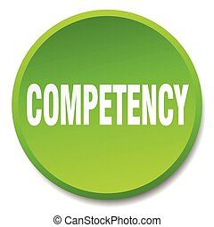 competency green round flat isolated push button