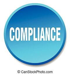 compliance blue round flat isolated push button