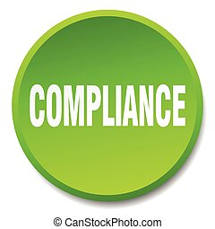 compliance green round flat isolated push button