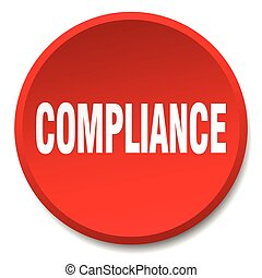 compliance red round flat isolated push button