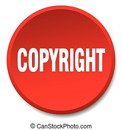 copyright red round flat isolated push button