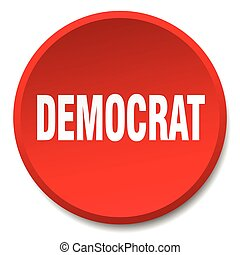 democrat red round flat isolated push button