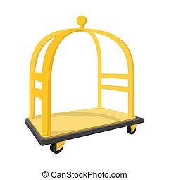 Luggage trolley cartoon icon. Hotel symbol isolated on a...
