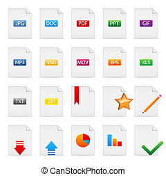 Document icons - Set of file extensions and document icons...