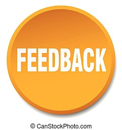 feedback orange round flat isolated push button