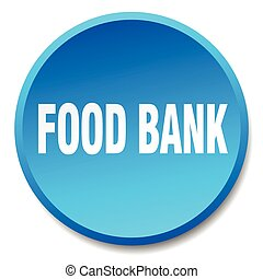 food bank blue round flat isolated push button