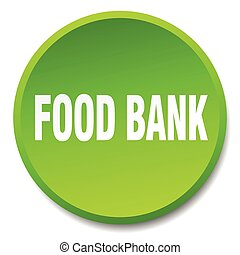 food bank green round flat isolated push button