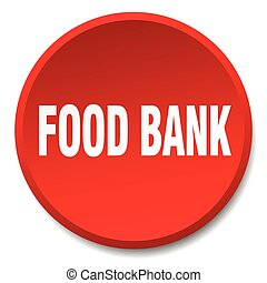 food bank red round flat isolated push button