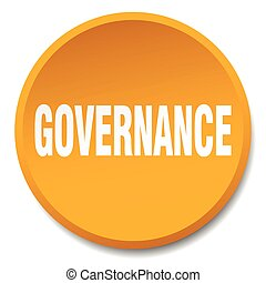 governance orange round flat isolated push button