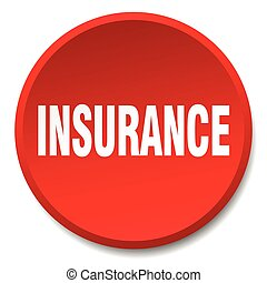 insurance red round flat isolated push button