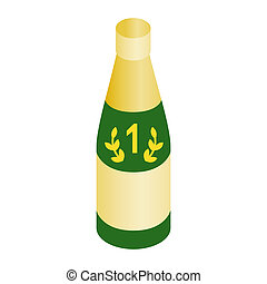 Champagne for the winner isometric 3d icon on a white...