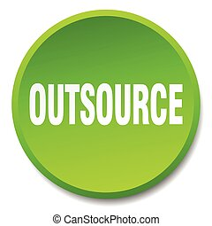 outsource green round flat isolated push button