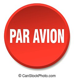 par avion red round flat isolated push button