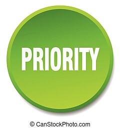 priority green round flat isolated push button
