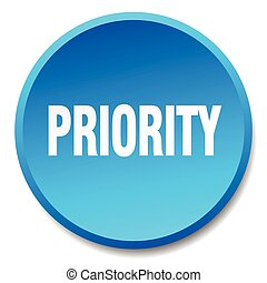 priority blue round flat isolated push button