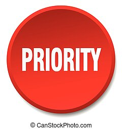 priority red round flat isolated push button