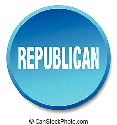 republican blue round flat isolated push button