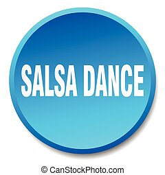 salsa dance blue round flat isolated push button