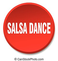 salsa dance red round flat isolated push button