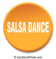salsa dance orange round flat isolated push button