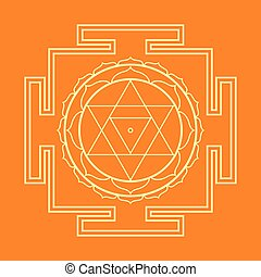 monocrome outline Baglamukhi yantra illustration - vector...