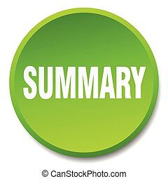 summary green round flat isolated push button