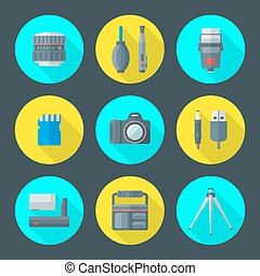 vector various photography goods icons