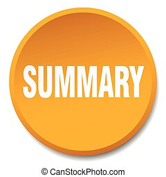 summary orange round flat isolated push button