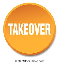 takeover orange round flat isolated push button