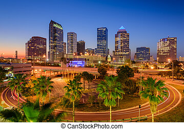 Tampa Florida Skyline - Tampa, Florida, USA downtown...