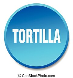 tortilla blue round flat isolated push button