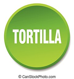 tortilla green round flat isolated push button