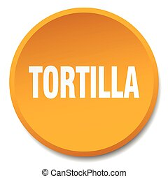 tortilla orange round flat isolated push button
