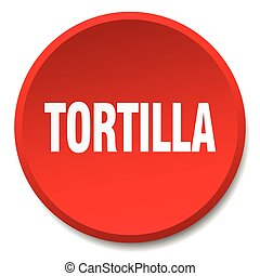 tortilla red round flat isolated push button