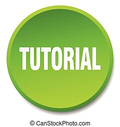 tutorial green round flat isolated push button