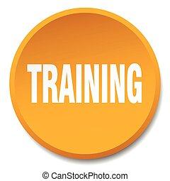 training orange round flat isolated push button