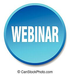 webinar blue round flat isolated push button