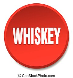 whiskey red round flat isolated push button