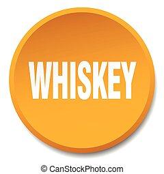 whiskey orange round flat isolated push button
