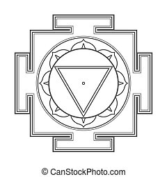 monocrome outline Tara yantra illustration - vector black...