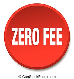 zero fee red round flat isolated push button