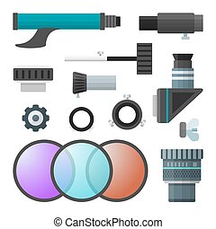vector colorful telescope accessories collection - vector...